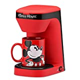 Disney Mickey Mouse, Mickey Mouse Single Serve Coffee Maker, Rojo/Negro, 1