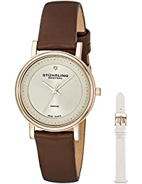 Women's 734LS2.SET.02 Symphony Elite Analog Swiss Quartz Brown Genuine Leather Watch with White Interchangeable Satin Covered Strap