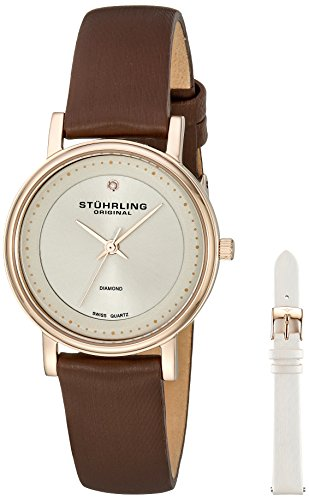 - Stuhrling Original Women's 734LS2.SET.02 Symphony Elite Analog  Swiss Quartz Brown Genuine Leather Watch with White Interchangeable Satin Covered Strap