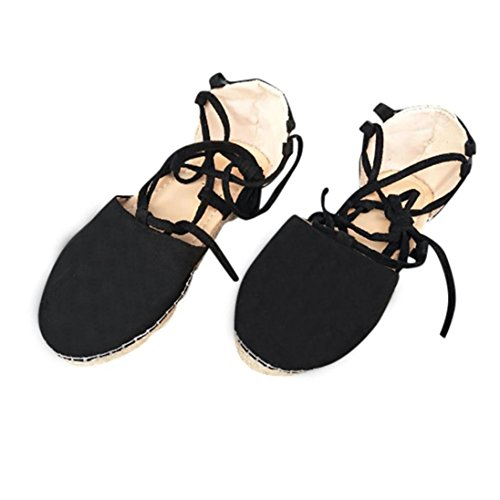 Womens Strap Sandals Flat,Vanvler Ladies Lace Up Espadrilles Chunky Cloth Shoes (US 8.5, Black) by Vanvler Sandals (Image #3)