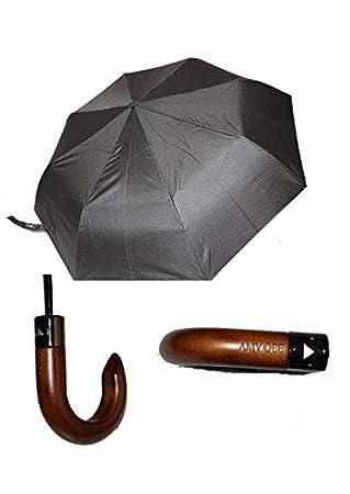 Amy Gee Paraguas plegable de caballero negro automático antiviento, 8 varillas con mango de madera