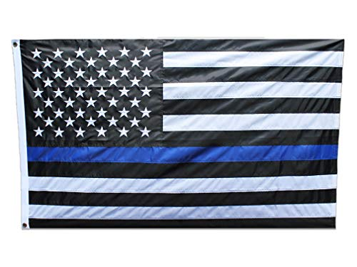 Thin Blue Line Flag 3x5 Ft - Embroidered Stars - Brass Grommets - Sewn Stripes - UV Protection Fade Resistance - Weather Proof - Black White and Blue - Honoring American Police Law Enforcement