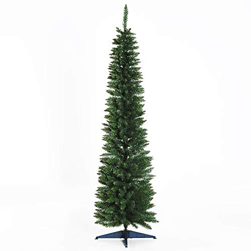 HOMCOM 6' PVC Hinged Unlit Slim Artificial Christmas Tree - Green (Artificial Tree Pencil Christmas)