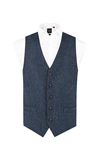 Harris Tweed Mens Blue & Black Herringbone Tweed Vest Regular Fit 5 Button Waistcoat-S (34-36in) ()