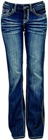 Cowgirl Tuff Western Denim Jeans Womens Houston Barbed Med JHOUST