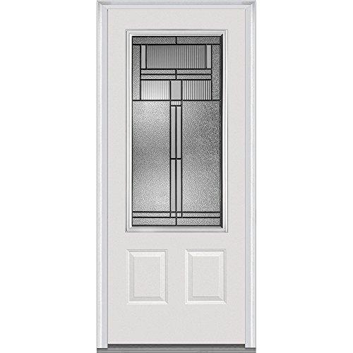 National Door Company ZA21437R 3/4 Lite 2-Panel Brighton Decorative Glass Fiberglass Smooth Primed 36