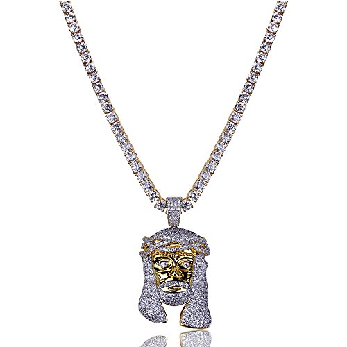 "TOPGRILLZ Men 14K Gold Plated Iced Out CZ Simulated Diamond Big Stones Crown Jesus Piece,Pharaoh,Prayer Hand Cross Pendant Necklace with Stainless Steel Chain Hip Hop (Gold with 24"" CZ Link)"