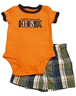 Carters Infant Boys Mommy's Hunk Orange Creeper & Brown Plaid Shorts Set 6m