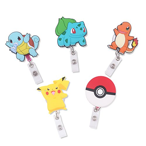 Finex Set of 5 Poke Ball Badge ID Clip Reel Retractable Holder Office Work Nurse Name Badge Tag Clip On Card Holders Cute - 30 inch Cord Extension -
