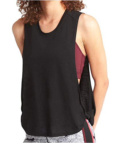 Stylish Twist - Women Sexy Open Side Yoga Tank top with Twist-Side Stylish Crop Workout Cover up Shirt (Black, Small)