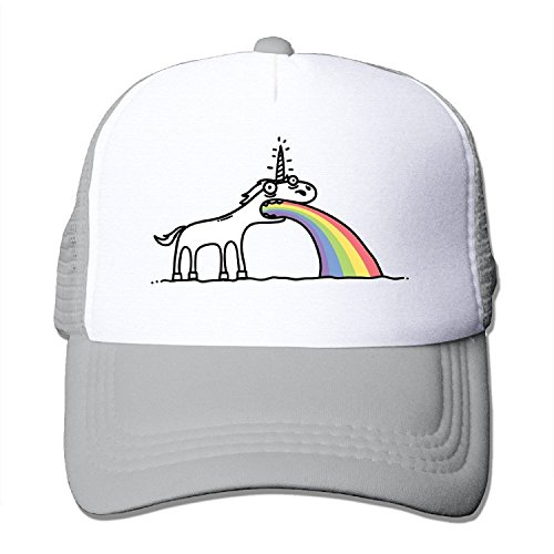 (Waldeal Rainbow Unicorn Cotton Hats Camper Snapback Cap for Outdoor Sports Ash)