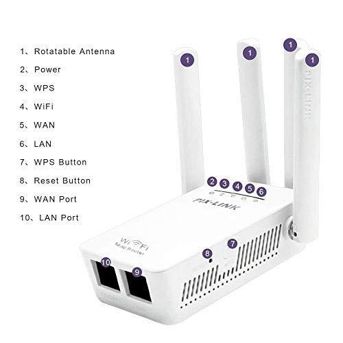 Wei/ß Wi-Fi Repeater WLAN Verst/ärker Range Extender Signal Booster 4 externe Antennen 2.4GHz schnell Geschwindigkeit bis zu 300Mbit//s