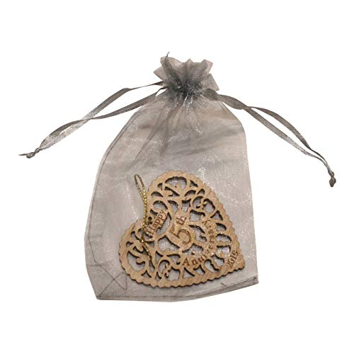 Twisted Anchor Trading Co 5th Anniversary Ornament 2019 - Heart Shaped Happy Anniversary Ornament - Beautiful Laser Cut Wood Detail - Comes in a Pretty Organza Gift Bag so it's Ready to give