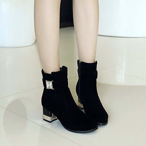 Zip Sexy Mid Carolbar Women's Black Decoration Short Heel Boots Fashion Dress Pqaa6YwEx