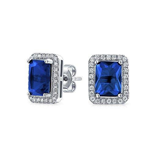 ulated Blue Sapphire CZ Birthstone Stud Earrings in 925 Silver (9mm) ()