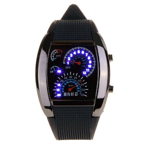 (Hot SaleBlack Japanese Movement Racing Car Dashboard Design Blue Flash LED Watch)