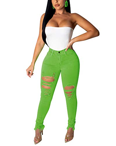Halfword Women's Ripped Stretch Denim Skinny Jeans High Waist Mid Rise Straight Leg Jean Distressed Plus Size Jeans Green ()