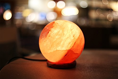 Natural Himalayan Salt Lamp Globe Hand Crafted Sphere by Ambient Authentic Natural Crystal Salt Rock with UL Listed Dimmer Switch by Ambient Salt Lamp (Image #1)
