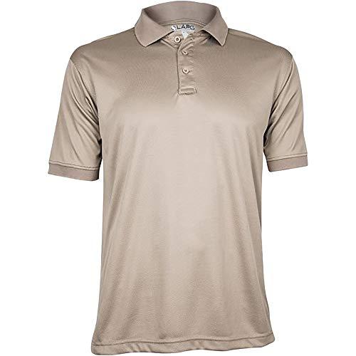 LA Police Gear Men's Anti-Wrinkle Moisture Wicking Recon Jersey Polo Shirt - Silver Tan-M