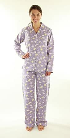 Womens Premium 100% Cotton Flannel Pajama Sleepwear set - Rainy Day (Lilac) - Small