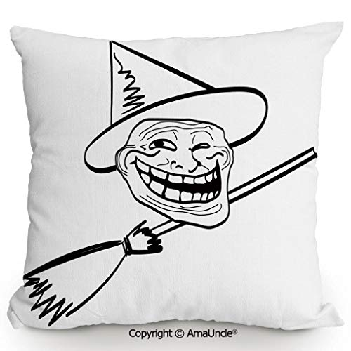 SCOXIXI Decorative Square Throw Pillow Case with Cotton and Linen,Halloween Spirit Themed Witch Guy Meme LOL Joy Spooky Avatar Artful Image,W16xL16 Inches