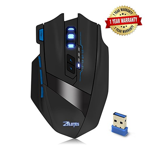 Portable Wireless Adjustable Computer Mouse - Ergonomic Precision Optical  Gaming Mice with USB Receiver, for PC, Laptop, Mac, Notebook, -Black by Zelotes