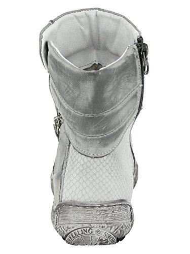 Kacper Stiefelette mit Modischem Zierreißverschluss Grau-Kombi