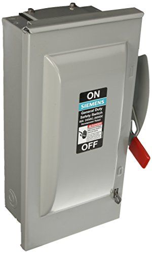 SIEMENS GF322NR 60 Amp, 3 Pole, 240-Volt, 4 Wire, Fused, General Duty, Outdoor - Fused Safety Switch