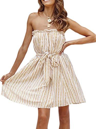 (Miessial Women's Summer Striped Strapless Mini Dress Cute Tie Waist Short Cocktail Dress Yellow 4/6)