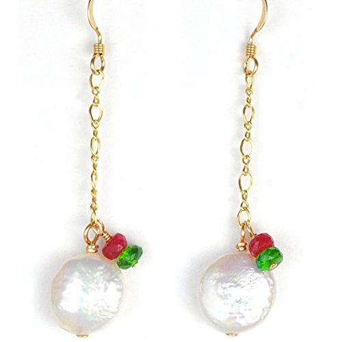 Cultured Freshwater Coin Pearl Earrings with Ruby and Tsavorite Garnet Accents in 14K Gold Filled