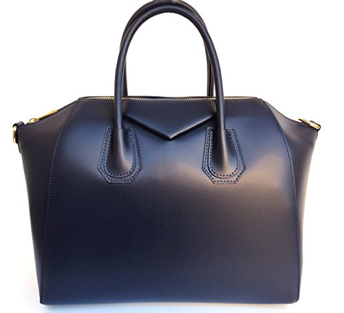 Superflybags Dark Blue In Smooth Model Italy Made Handbag Leather Genuine Rebecca Women's rqS1Zwr