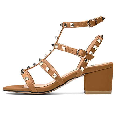 Women, Studded Strappy Block Heels Slingback Gladiator Shoes Cut Out Dress Sandals Brown 9 ()