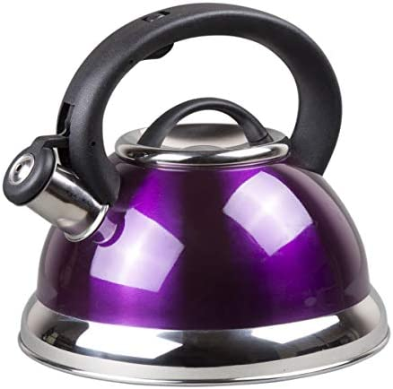 Creative Home Alexa Stainless Steel Whistling Tea Kettle, Purple, 3.0 Quart