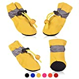 SMARTHING 4 PCS Dog Cat Shoes with Reflective Anti Slip Sole Rain Snow Boots Adjustable Fastening Straps Breathable Socks Sneaker Paw Protector for Small Dogs Puppy Cats (XL, Yellow(Soft))