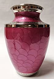 Funeral Urn by Liliane - Cremation Urn for Human Ashes - Hand Made in Brass with Beautiful Pink Enamel and Silver Wide Band - Display Burial Urn at Home or in Niche at Columbarium. -Petals Pink Model