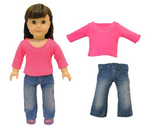 KHOMO ® 2 Piece Doll Clothing Set. Fashion Jeans and Long Sleeve Shirt. For American Girl and Madame Alexander Dolls, Baby & Kids Zone