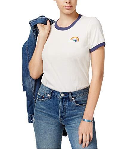 Bando Womens Ringer Endless Summer Rainbow Graphic T-Shirt Ivory S ()