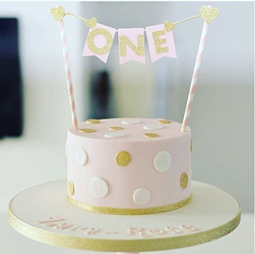 One Pink Gold Glitter Card Cake Topper Cake Bunting number one