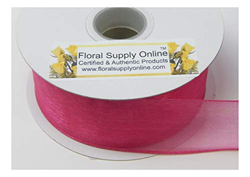 Organza Nylon Ribbon - #9 Monofilament Edge Sheer Organza Ribbon for Floral, Fashion, Craft, Scrapbooking, Gift Wrapping, Hair Bows, Wedding, Baby Shower, and Decorating Projects. (1-1/2 Inch x 25 Yard, Fuchsia)