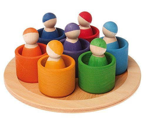 (Grimm's Seven Friends in 7 Bowls: Set of Wooden Sorting & Matching Rainbow Peg Dolls with Tray )