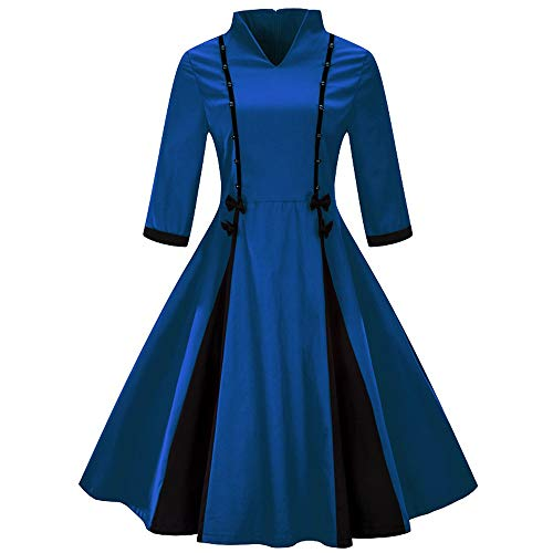 Women Plus Size Vintage Dress Ladies Retro Stand Collar Half Sleeve Fashion Dress for Cocktail Evening Christmas Party ()
