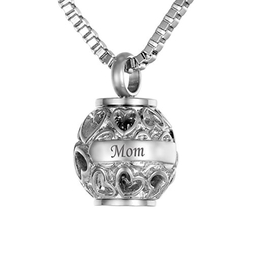 Valyria Hollow Diamond Heart Beads Mom+Always in my heart Cremation Urn Necklace Keepsake Ashes Memorial Pendant,Silver Tone