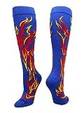 MadSportsStuff Flame Socks Athletic Over the Calf Socks (Royal/Red/Gold, Medium)