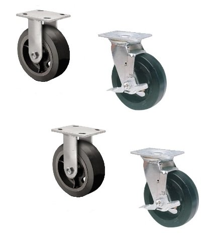 Set of 4 Dumpster Casters with Black Mold-On Rubber on Steel 6'' x 2'' Wheels 500# by Superior Brand