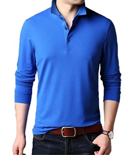 Aiyino Men's Dry Fit Long Sleeve Polo Golf Shirt Cotton T Shirts XL Long Sleeve-Electric ()