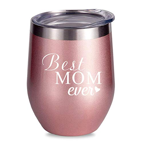 (ALISISTER Best Mom Ever Mug Wine Tumbler Insulated Stainless Steel Coffee 3D Printed Cup Copper Stemless Funny Cold Wine Glass 12Oz With)