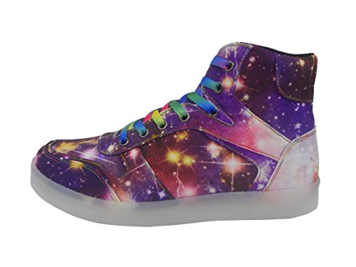 Dayout Unique Galaxy Print Led Light Up Sneakers Para Adulto Mujeres Mujeres Luminous Canvas Zapatos Purple High Top