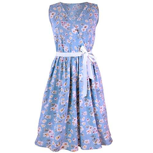 A Dress Scollo Floreale Ladies Linea Maniche Stampa Abito Abbigliamento Festivo Fasciatura Women Casual V Senza Mini Serbatoio Himmelblau bI6Yf7gyv