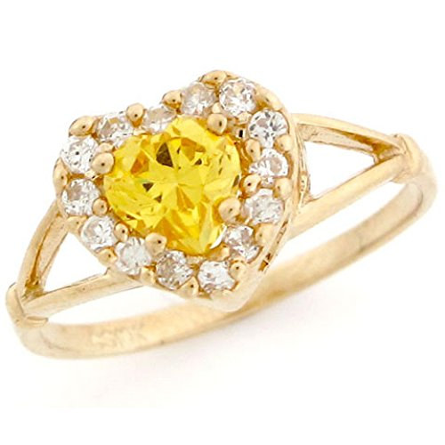 10k Gold Heart Shape Yellow Topaz Simulated November Birthstone Ring by Jewelry Liquidation