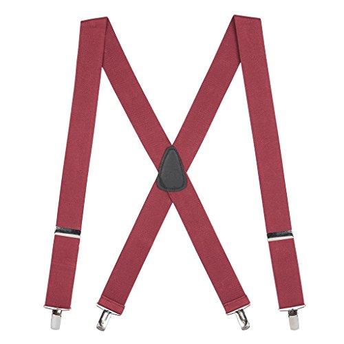 SuspenderStore Men's 1.5 Inch Wide Clip Suspenders - BURGUNDY ()